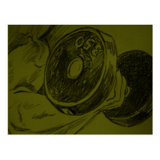 Body Building Fitness Pencil Sketch Post Card