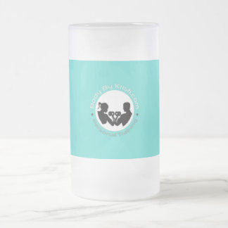 Body By Kristi Frosted Glass-Blue Label Frosted Glass Beer Mug