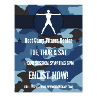 Body Madness Blue Camo Boot Camp Fitness Flyers Custom Flyer