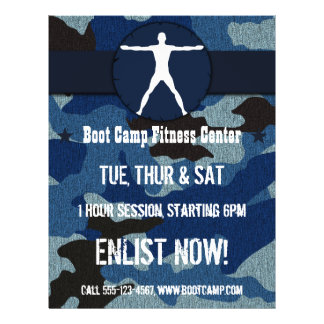 Body Madness Fitness Blue Camo Boot Camp Flyers Flyer Design