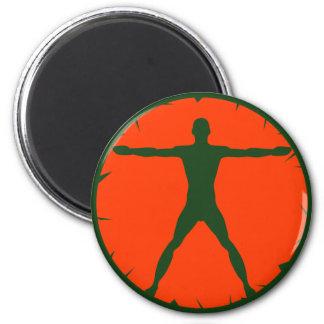 Body Madness Fitness Green Orange Round Magnet