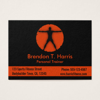 Body Madness Orange and Black Fitness Instructor Business Card