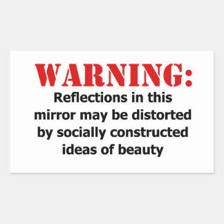 Body-Positive Mirror Warning Rectangular Sticker