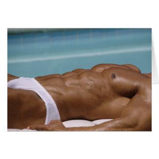 Bodybuilder At Pool Notecard