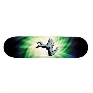 Bodybuilder; green skate boards