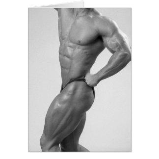 Bodybuilder In Posing Suit Notecard Note Card