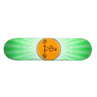 Bodybuilding green orange skateboard deck