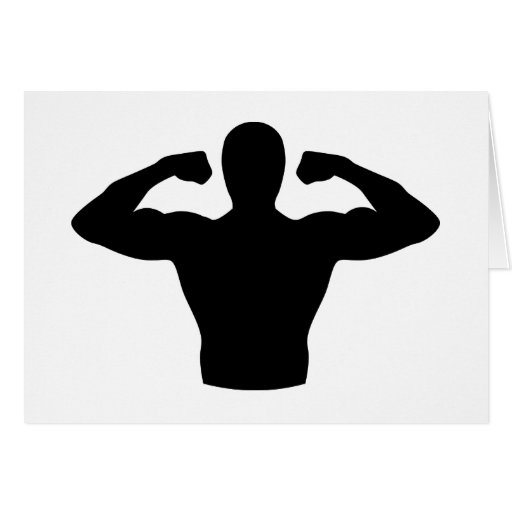 Bodybuilding muscles greeting cards