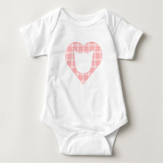 Bodysuit with Light Pink Plaid Cat-Heart