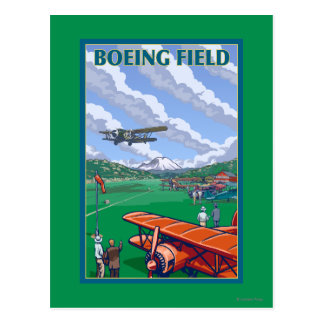 Boeing Field Vintage Travel Poster Postcard