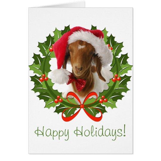 Boer Goat Happy Holidays in Wreath Card
