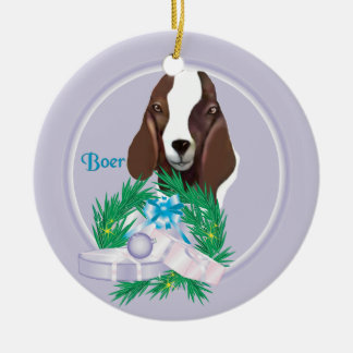 Boer Goat Wreath Holiday Ornament