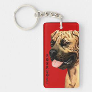 Boerboel Color Block Double-Sided Rectangular Acrylic Key Ring