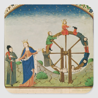 Boethius with the Wheel of Fortune Square Sticker