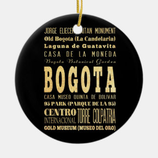 Bogota City of Colombia Typography Art Round Ceramic Decoration