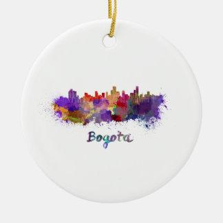 Bogota skyline in watercolor christmas ornament