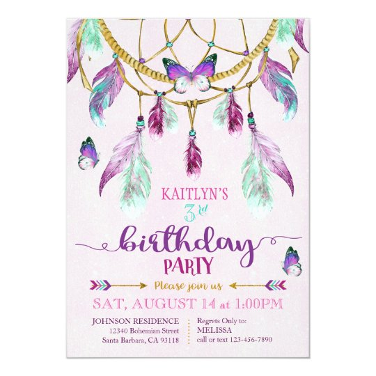Bohemian American Indian Dream Catcher Birthday Card