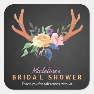 Bohemian Antlers Flowers Bridal Shower Favor Square Sticker