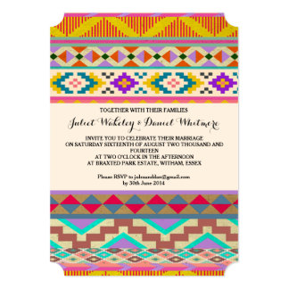 Bohemian Aztec Ikat Wedding Invitation 13 Cm X 18 Cm Invitation Card