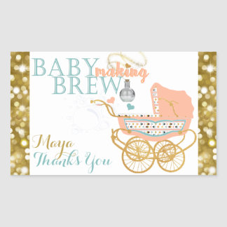 Bohemian Baby Shower Making Brew Bottle Labels Rectangular Sticker