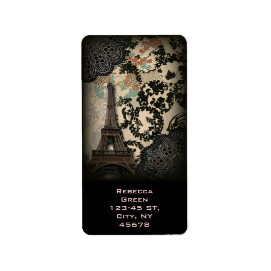 bohemian black floral vintage paris eiffel tower label