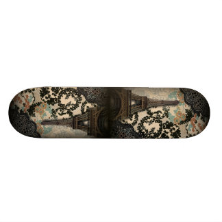 bohemian black floral vintage paris eiffel tower skate board decks