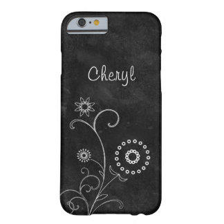Bohemian Blackboard Pretty White Flowers With Name Barely There iPhone 6 Case