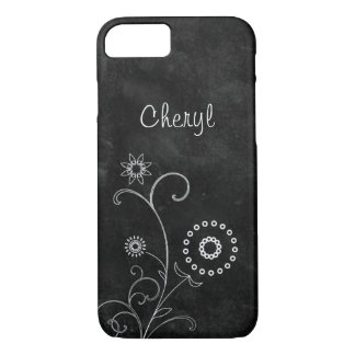 Bohemian Blackboard Pretty White Flowers With Name iPhone 8/7 Case