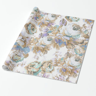 Bohemian blush lavender brown teal roses floral wrapping paper