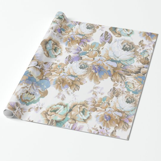 Bohemian blush lavender brown teal roses floral wrapping