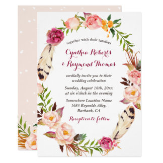 Bohemian Boho Floral Wreath Wedding Invitation