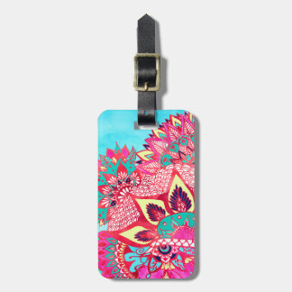 Bohemian boho red blue floral paisley pattern luggage tag