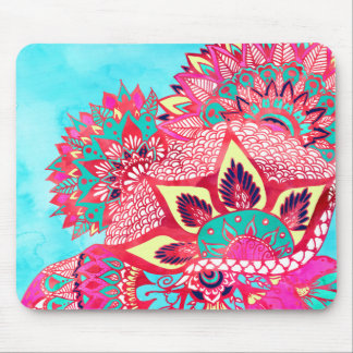 Bohemian boho red blue floral paisley pattern mouse mat