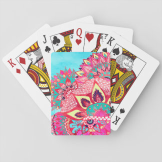 Bohemian boho red blue floral paisley pattern playing cards