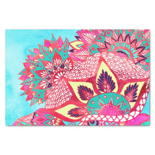 Bohemian boho red blue floral paisley pattern tissue