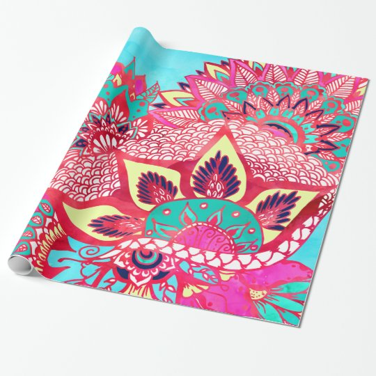 Bohemian boho red blue floral paisley pattern wrapping