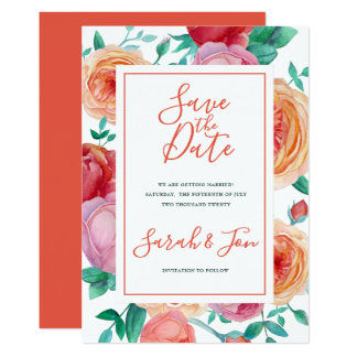 Bohemian Bold Floral Save the Date card