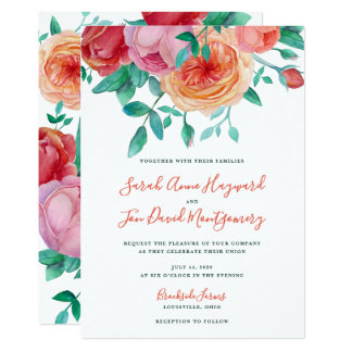 Bohemian Bold Floral Wedding Invitation
