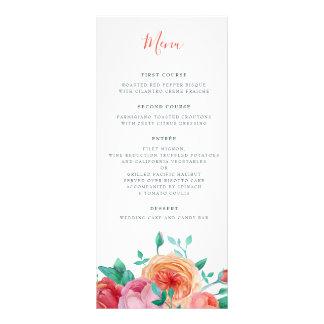 Bohemian Bold Floral Wedding Menu