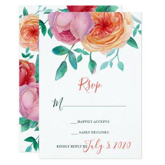 Bohemian Bold Floral Wedding RSVP Card