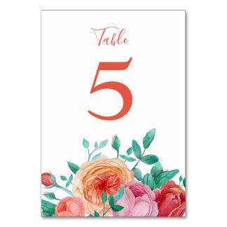 Bohemian Bold Floral Wedding Table Card