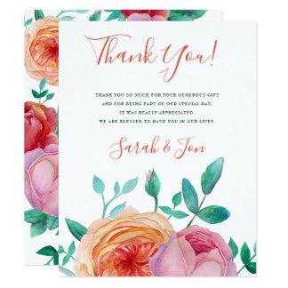 Bohemian Bold Floral Wedding Thank You Card