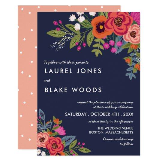 Bohemian Bouquet - Navy Blue & Coral Wedding