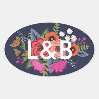 Bohemian Bouquet - Navy Blue Wedding Initials Oval Sticker