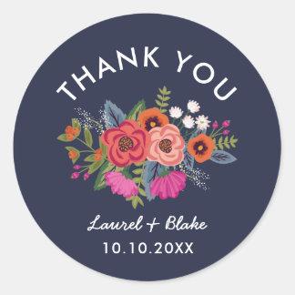 Bohemian Bouquet - Navy Blue Wedding Thank You Classic Round Sticker