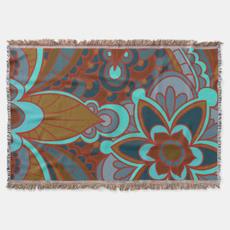 Bohemian, Brown and Turquoise Throw Blanket