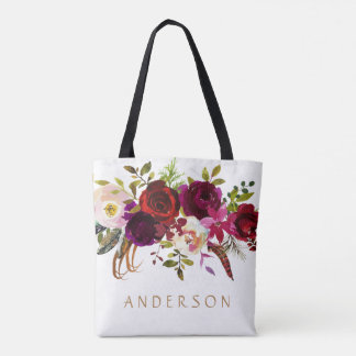 Bohemian Burgundy Marsala Watercolor Floral Tote Bag