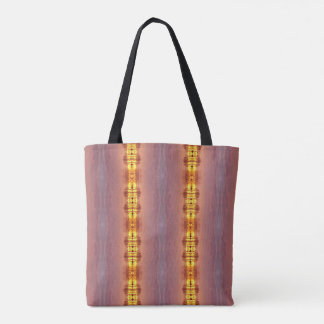 Bohemian Burgundy Rust Shades With Yellow Strips Tote Bag