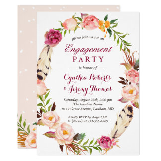 Bohemian Chic Boho Floral Wreath Engagement Party Card