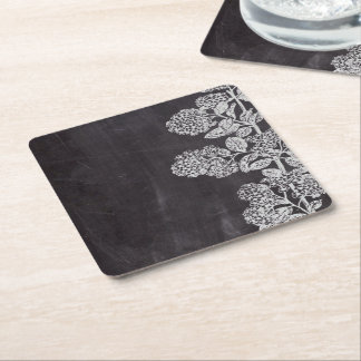 Bohemian Chic french country chalkboard botanical Square Paper Coaster